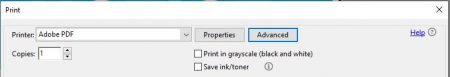 Select the Advanced button (next to Properties) on the Print menu