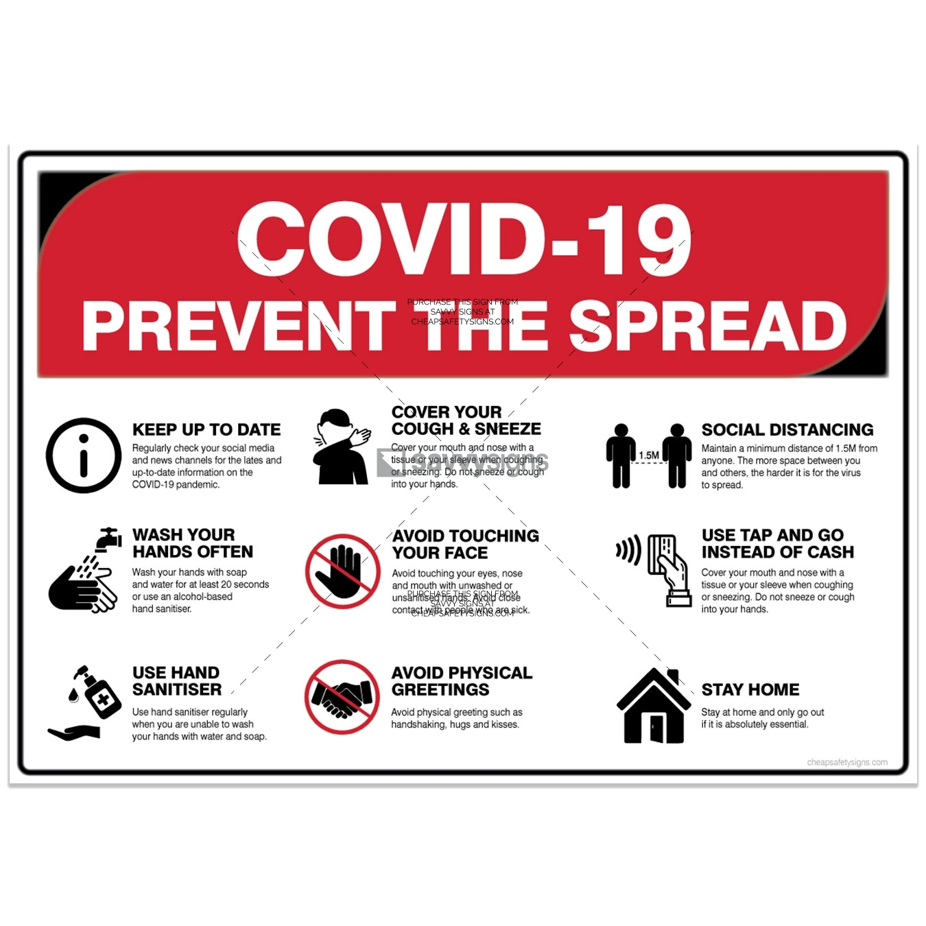 COVID-19 Safety Signs - Prevent the spread infographic poster