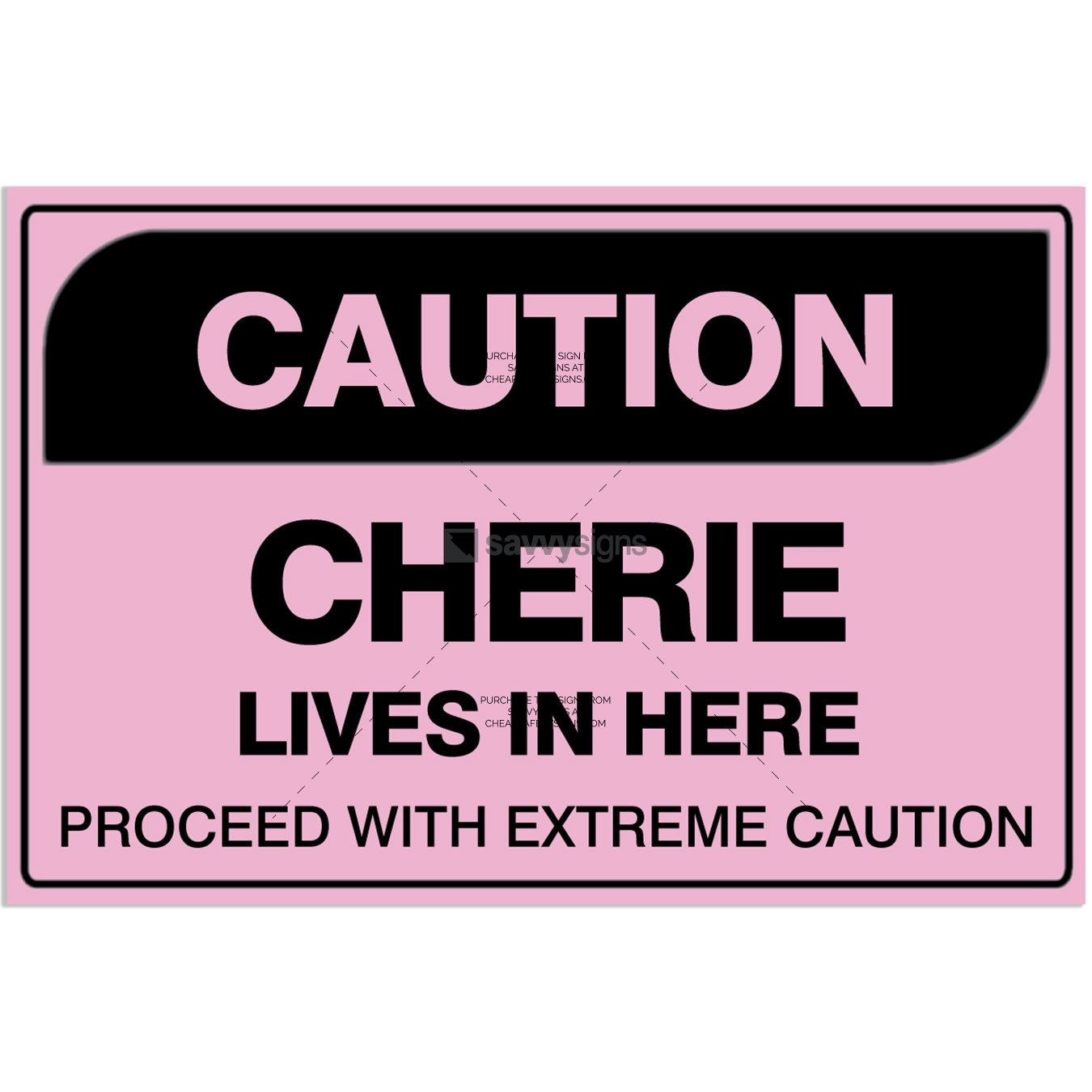 SSFUN3042-Caution-Cherie-Kids-Bedroom-Door-Sign_Savvy-Signs_v1